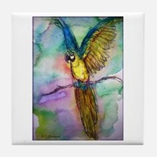 Blue Macaw, bright, Tile Coaster