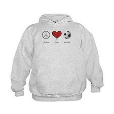 Peace, Love, Soccer Hoodie