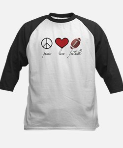 Peace, Love, Football Kids Baseball Jersey