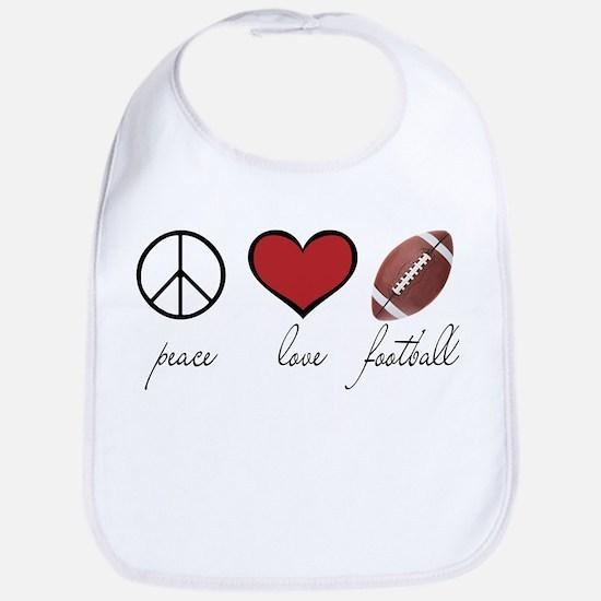 Peace, Love, Football Bib