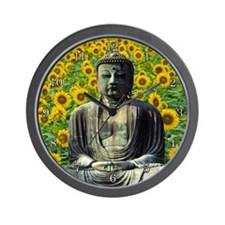 Buddha Sunflowers Wall Clock