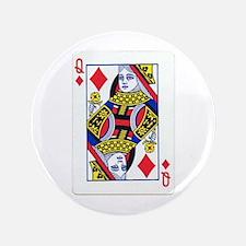 """Queen of Diamonds 3.5"""" Button"""