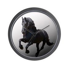 Black Rose Friesians Wall Clock