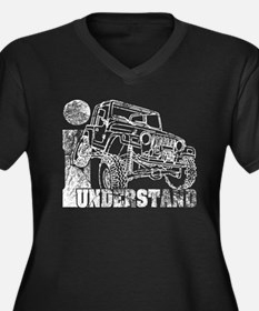 Jeep TJ Wrangler Women's Plus Size V-Neck Dark T-S