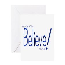 Believe! (blue) Greeting Card