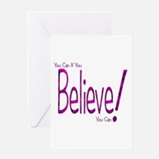 Believe! (purple) Greeting Card
