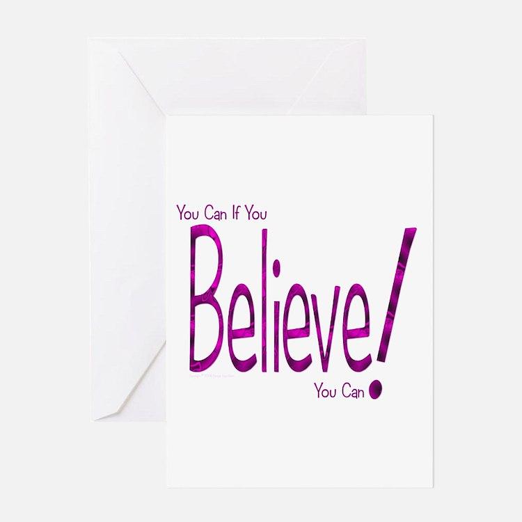 Believe! (purple) Greeting Card