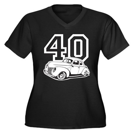 '40 Ford Women's Plus Size V-Neck Dark T-Shirt