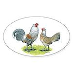 Ameraucana Chicken Pair Oval Sticker (10 pk)