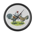Ameraucana Chicken Pair Large Wall Clock