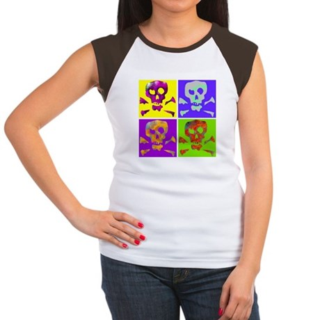 Colorful Abstract Skull Women's Cap Sleeve T-Shirt