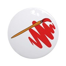 Paintbrush Red Ornament (Round)