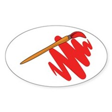 Paintbrush Red Oval Decal