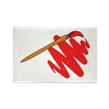 Paintbrush Red Rectangle Magnet