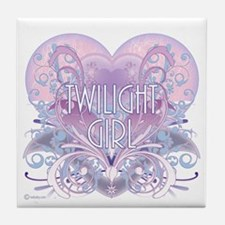 Twilight Girl Fancy Heart Tile Coaster
