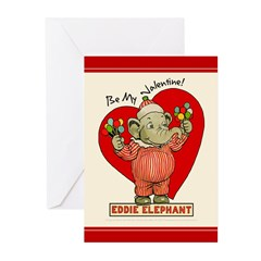 Eddie Elephant VALENTINE Greeting Cards (Pk of 20)