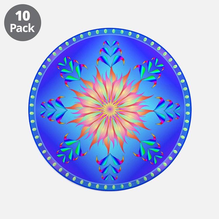 "Flowers mandala 3.5"" Button (10 pack)"