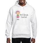 1st Grade Teacher Stick Figure Hooded Sweatshirt