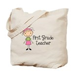 1st Grade Teacher Stick Figure Tote Bag