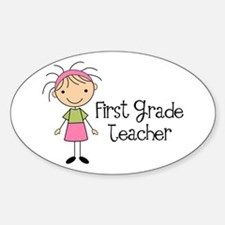 1st Grade Teacher Stick Figure Oval Decal