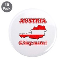 "Austria - g'day mate 3.5"" Button (10 pack)"