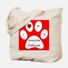 Red I Love My American Foxhound Tote Bag