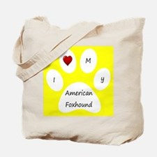 Yellow I Love My American Foxhound Tote Bag