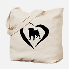 Pug Heart Tote Bag