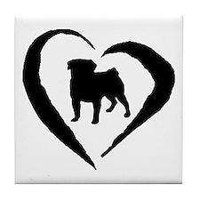 Pug Heart Tile Coaster