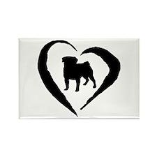 Pug Heart Rectangle Magnet