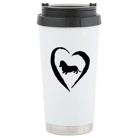 Mini Dachshund Heart Stainless Steel Travel Mug