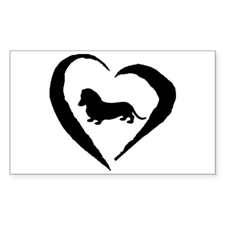 Mini Dachshund Heart Rectangle Sticker