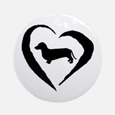 Dachshund Heart Ornament (Round)