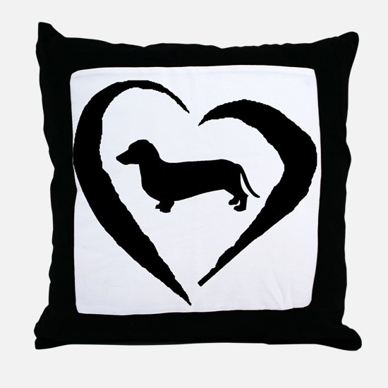 Dachshund Heart Throw Pillow