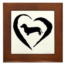 Dachshund Heart Framed Tile