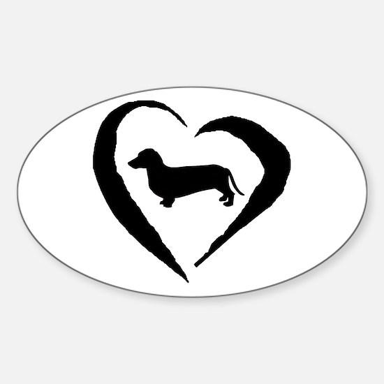 Dachshund Heart Oval Decal