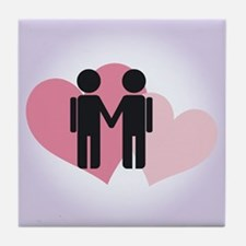 Gay Valentine Couple Tile Coaster