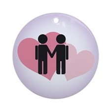 Gay Valentine Couple Ornament (Round)