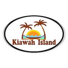 Kiawah Island SC - Sun and Palm Trees Design. Stic