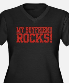 My Boyfriend Rocks Women's Plus Size V-Neck Dark T