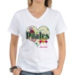 PIlates Fanciful Flowers Women's V-Neck T-Shirt