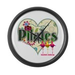 PIlates Fanciful Flowers Large Wall Clock