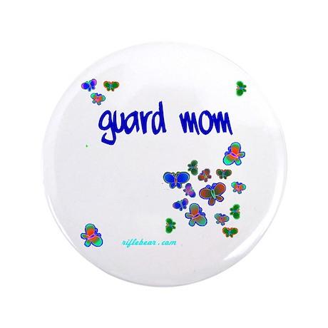 """Guard Mom Butterflies 3.5"""" Button"""