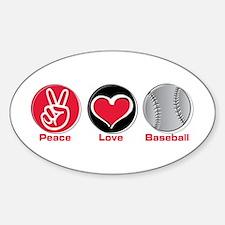 Peace Love Baseball red Decal