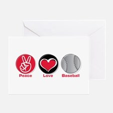 Peace Love Baseball red Greeting Card
