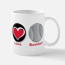 Peace Love Baseball red Mug