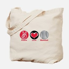 Peace Love Baseball red Tote Bag