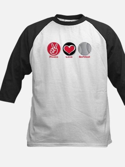 Peace Love Softball red Kids Baseball Jersey