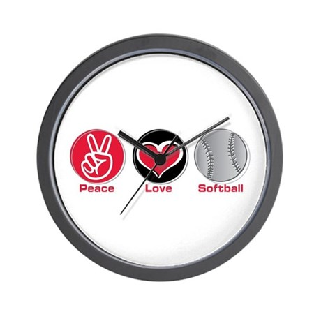 Peace Love Softball red Wall Clock