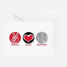 Peace Love Softball red Greeting Card